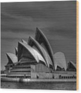Sydney Opera House Print Image In Black And White Wood Print