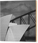 Sydney Opera House With Harbour Bridge Wood Print