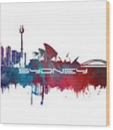 Sydney Skyline City Blue Wood Print