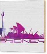 Sydney Skyline Purple Wood Print