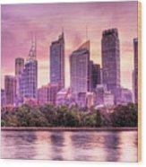 Sydney Tower Skyline At Sunset Wood Print