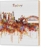 Sydney Watercolor Skyline Wood Print