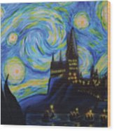 Syfy- Starry Night In Hogwarts Wood Print