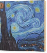 Syfy- Starry Night In Mordor Wood Print