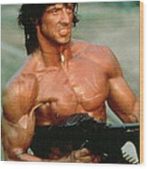 Sylvester Stallone And Browning Machine Gun Rambo 1985 Wood Print