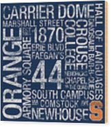 Syracuse College Colors Subway Art Wood Print