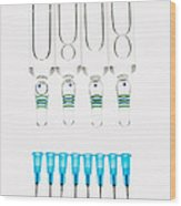 Syringes And Vials Wood Print