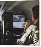 System Operator Operates A Console Wood Print