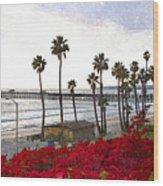 T-street View Of San Clemente Pier Wood Print