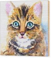Tabby Kitten Watercolor Wood Print