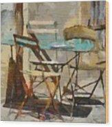Table Bleue Au Soleil Wood Print