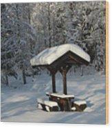 Table By Cross Country Ski Tracks Wood Print