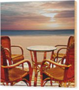 Table For Four At The Beach At Sunset Wood Print