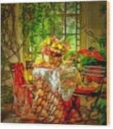 Table For Two In Ambiance Wood Print