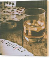 Table Games And The Wild West Saloon  Wood Print