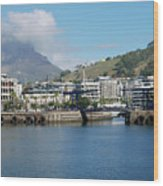 Table Mountain From The V And A Waterfront Quays Wood Print