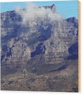 Table Mountain In The Clouds Wood Print