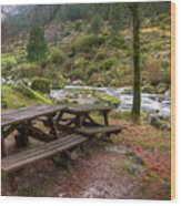 Tables By The River Wood Print