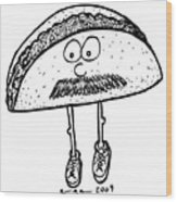 Taco Mustache Wood Print by Karl Addison