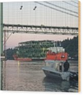Tacoma Narrows Bridge With Patrol Boat In Foreground Wood Print