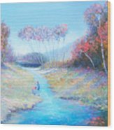 Tadpoling By The River Wood Print