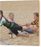 Tag Beach Rugby Competition Wood Print by David  Hollingworth