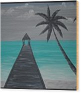 Tahitian Blue Wood Print