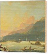 Tahitian War Galleys In Matavai Bay - Tahiti Wood Print