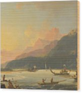 Tahitian War Galleys In Matavai Bay Wood Print