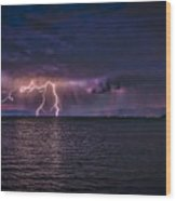 Tahoe Lightning Wood Print by Mitch Shindelbower