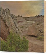 Tail End Of Storm At Sunset Over Bentonite Site Wood Print