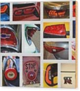 Tail Light Collage Number 1 Wood Print