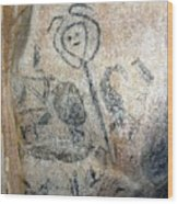 Taino Spirit Of The Sun - Prehistoric Caribbean Taino Indian Cave Painting Wood Print by Ramon A Chalas-Soto