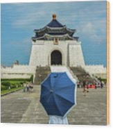 Taipei Lady Umbrella Wood Print