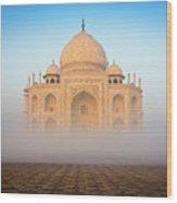 Taj Mahal In The Mist Wood Print