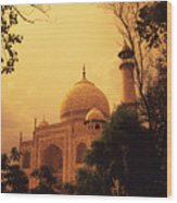 Taj Mahal Sunset Wood Print