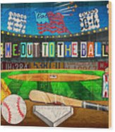 Take Me Out To The Ballgame Recycled Vintage License Plate Art Collage Wood Print