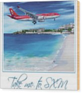 Take Me To Sxm- Poster Wood Print