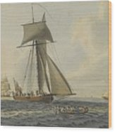 Taking Crew To An English Frigate Near The Needles Isle Of Wight By Robert Cleveley Wood Print