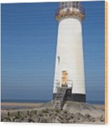 Talacre Lighthouse And Beach. Wood Print
