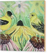 Talking Finches Wood Print