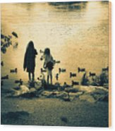 Talking To Ducks Wood Print