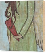 Tall Angel With Heart Wood Print