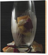 Tall Crystal Vase With Rose Petals Wood Print