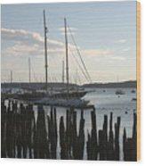 Tall Ship At Dock Wood Print