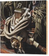 Tall Ship Details Wood Print