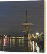 Tall Ship Docked At The Baltimore Inner Harbor Wood Print