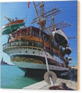 Tall Ship In Port Venice Wood Print
