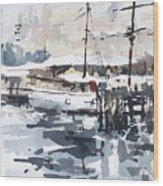 Tall Ship In Sydney Harbour Wood Print