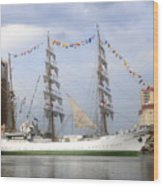 Tall Ship In Tampa Bay Wood Print